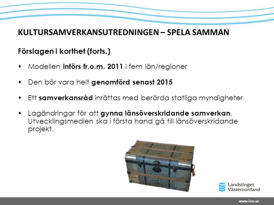 www.lvn.se KULTURSAMVERKANSUTREDNINGEN – SPELA SAMMAN Förslagen i korthet (forts.) •Modellen införs fr.o.m.
