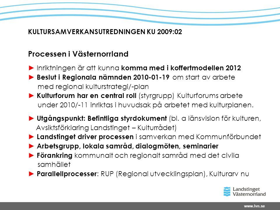 www.lvn.se KULTURSAMVERKANSUTREDNINGEN KU 2009:02 Processen i Västernorrland ► Inriktningen är att kunna komma med i koffertmodellen 2012 ► Beslut i Regionala nämnden 2010-01-19 om start av arbete med regional kulturstrategi/-plan ► Kulturforum har en central roll (styrgrupp) Kulturforums arbete under 2010/-11 inriktas i huvudsak på arbetet med kulturplanen.