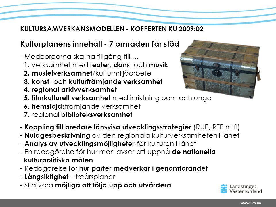 www.lvn.se KULTURSAMVERKANSMODELLEN - KOFFERTEN KU 2009:02 Kulturplanens innehåll - 7 områden får stöd - Medborgarna ska ha tillgång till … 1.