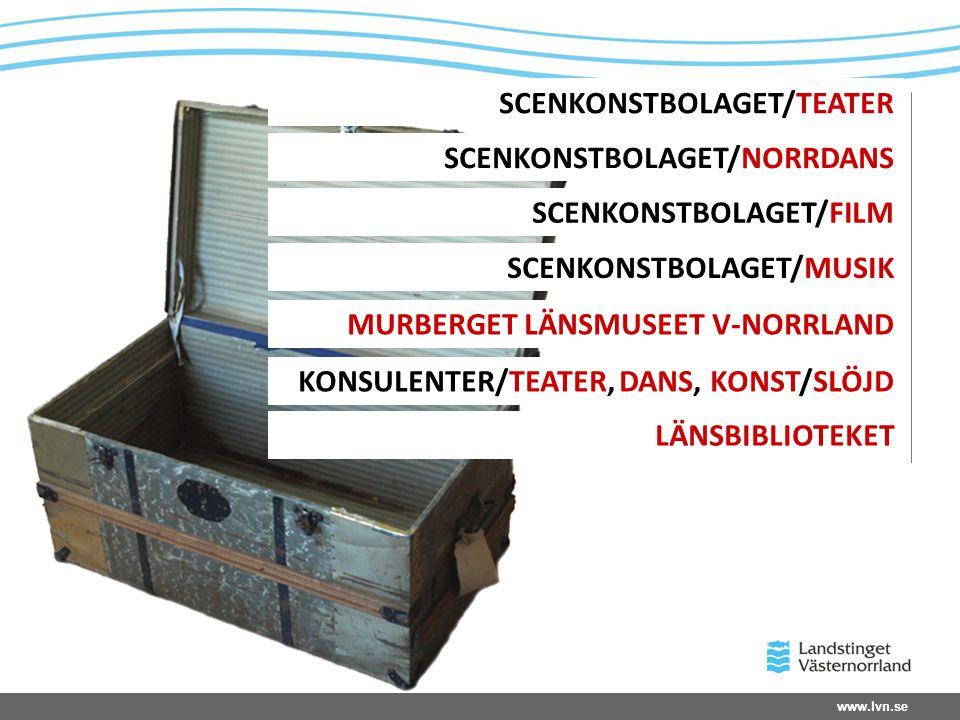 www.lvn.se SCENKONSTBOLAGET/TEATER SCENKONSTBOLAGET/NORRDANS SCENKONSTBOLAGET/FILM SCENKONSTBOLAGET/MUSIK MURBERGET LÄNSMUSEET V-NORRLAND KONSULENTER/TEATER, DANS, KONST/SLÖJD LÄNSBIBLIOTEKET