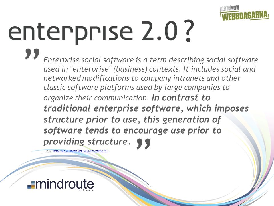 Enterprise social software is a term describing social software used in enterprise (business) contexts.