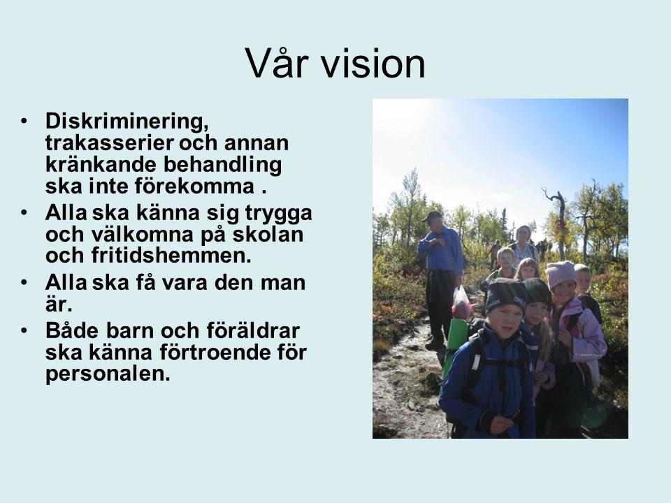 Vår vision •Diskriminering, trakasserier och annan kränkande behandling ska inte förekomma. •Alla ska känna sig trygga och välkomna på skolan och frit