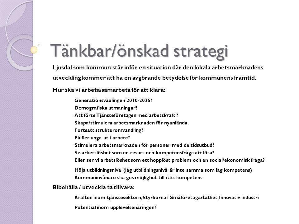 Tänkbar/önskad strategi Ljusdal som kommun står inför en situation där den lokala arbetsmarknadens utveckling kommer att ha en avgörande betydelse för kommunens framtid.