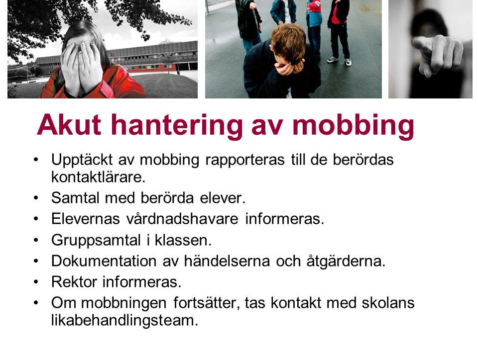 •Upptäckt av mobbing rapporteras till de berördas kontaktlärare. •Samtal med berörda elever. •Elevernas vårdnadshavare informeras. •Gruppsamtal i klas