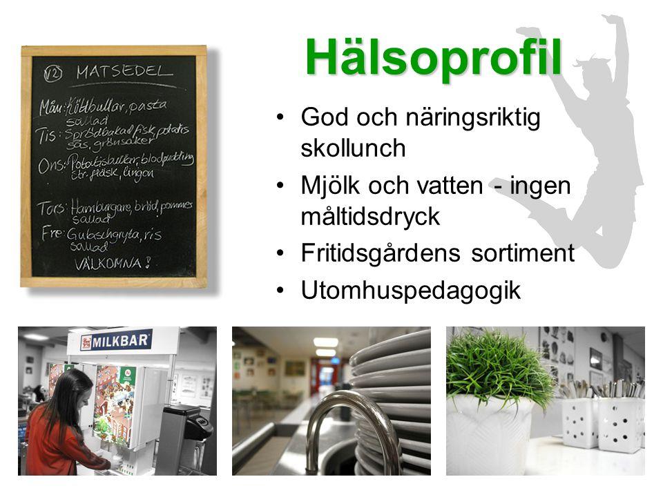 Hälsoprofil •God och näringsriktig skollunch •Mjölk och vatten - ingen måltidsdryck •Fritidsgårdens sortiment •Utomhuspedagogik