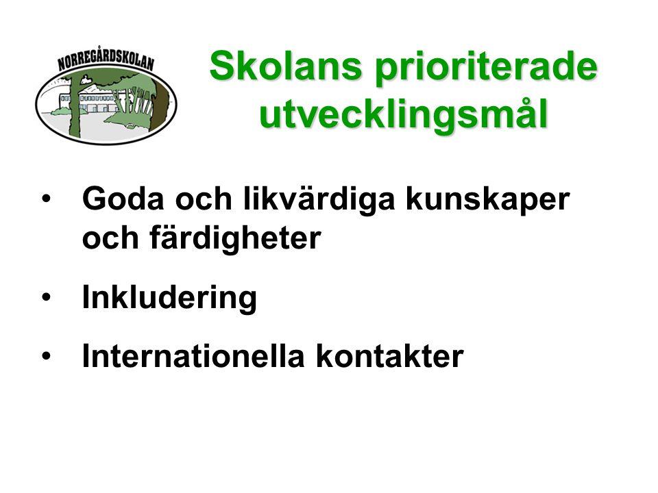 Skolans prioriterade utvecklingsmål •Goda och likvärdiga kunskaper och färdigheter •Inkludering •Internationella kontakter