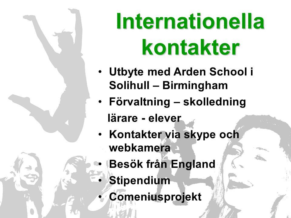 Internationella kontakter •Utbyte med Arden School i Solihull – Birmingham •Förvaltning – skolledning lärare - elever •Kontakter via skype och webkamera •Besök från England •Stipendium •Comeniusprojekt