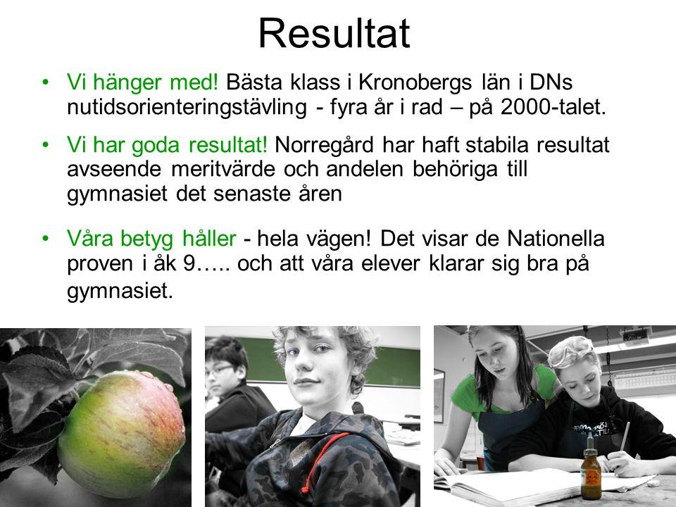 Resultat •Vi hänger med! Bästa klass i Kronobergs län i DNs nutidsorienteringstävling - fyra år i rad – på 2000-talet. •Vi har goda resultat! Norregår