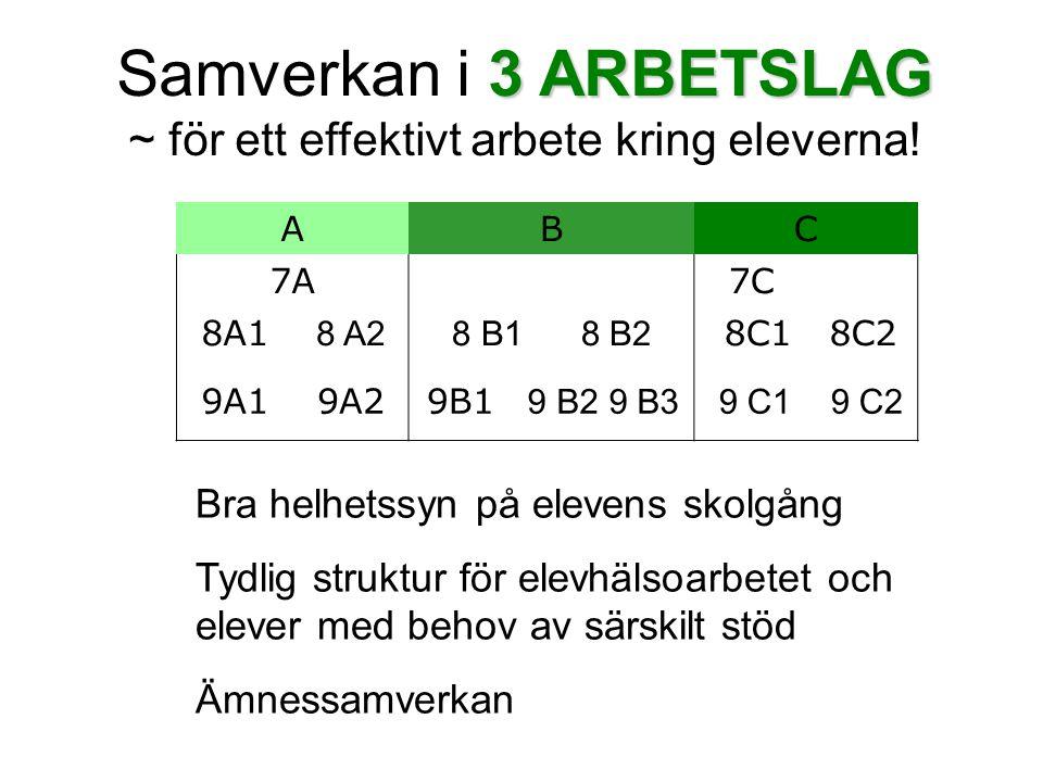 3 ARBETSLAG Samverkan i 3 ARBETSLAG ~ för ett effektivt arbete kring eleverna! ABC 7A7C 8A1 8 A28 B1 8 B2 8C18C2 9A19A29B1 9 B2 9 B3 9 C1 9 C2 Bra hel