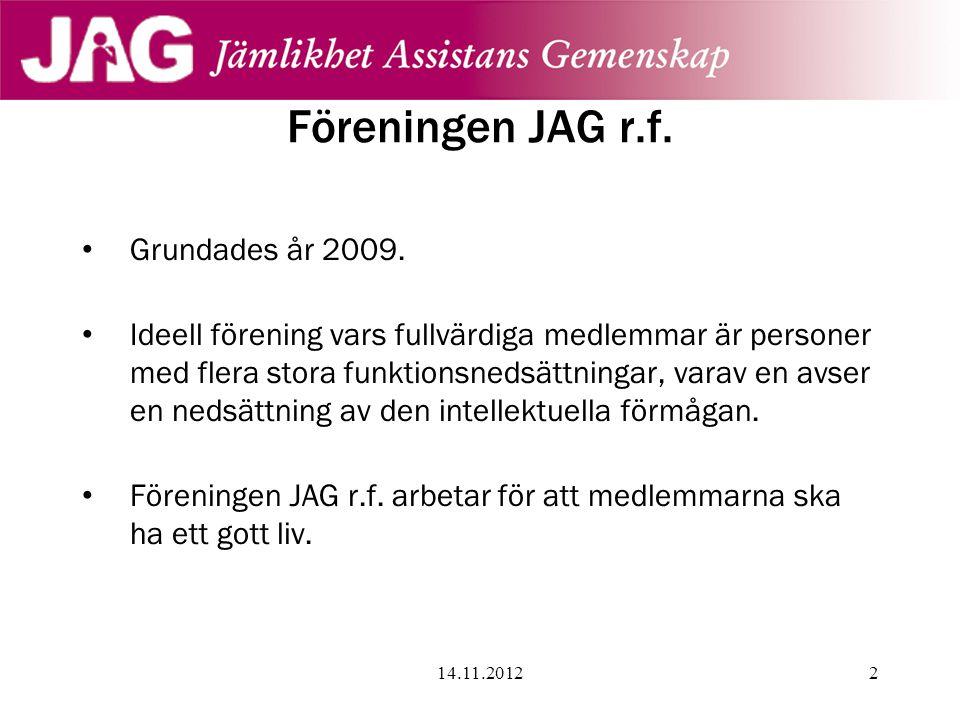 Föreningen JAG r.f. • Grundades år 2009. • Ideell förening vars fullvärdiga medlemmar är personer med flera stora funktionsnedsättningar, varav en avs