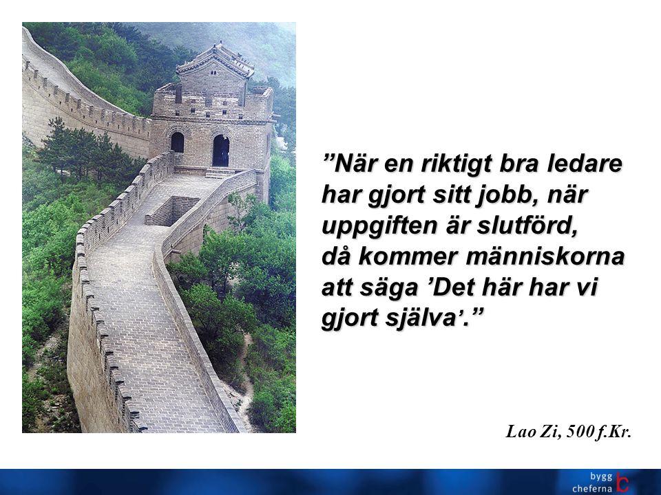 När en riktigt bra ledare har gjort sitt jobb, när uppgiften är slutförd, då kommer människorna att säga 'Det här har vi gjort själva '. Lao Zi, 500 f.Kr.