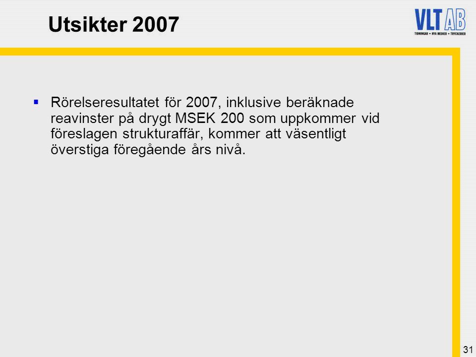 31 Utsikter 2007  Rörelseresultatet för 2007, inklusive beräknade reavinster på drygt MSEK 200 som uppkommer vid föreslagen strukturaffär, kommer att väsentligt överstiga föregående års nivå.