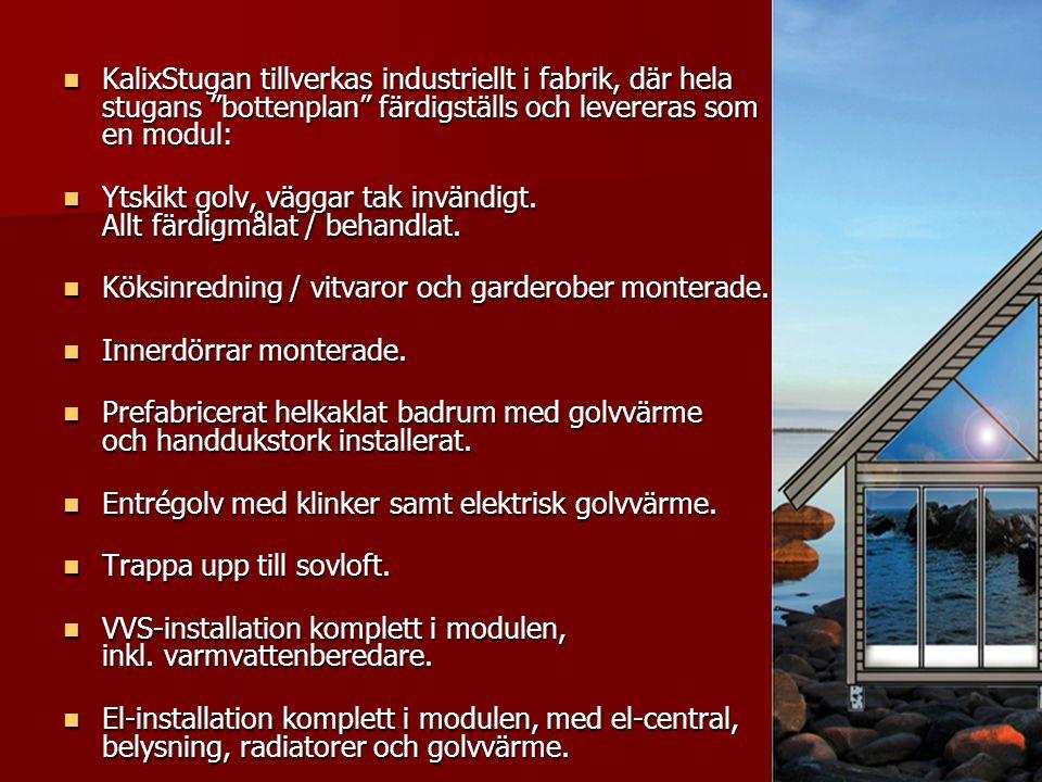 """ KalixStugan tillverkas industriellt i fabrik, där hela stugans """"bottenplan"""" färdigställs och levereras som en modul:  KalixStugan tillverkas indust"""