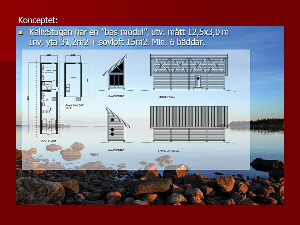 """Konceptet:  KalixStugan har en """"bas-modul"""", utv. mått 12,5x3,0 m Inv. yta 31,2m2 + sovloft 15m2. Min. 6 bäddar."""