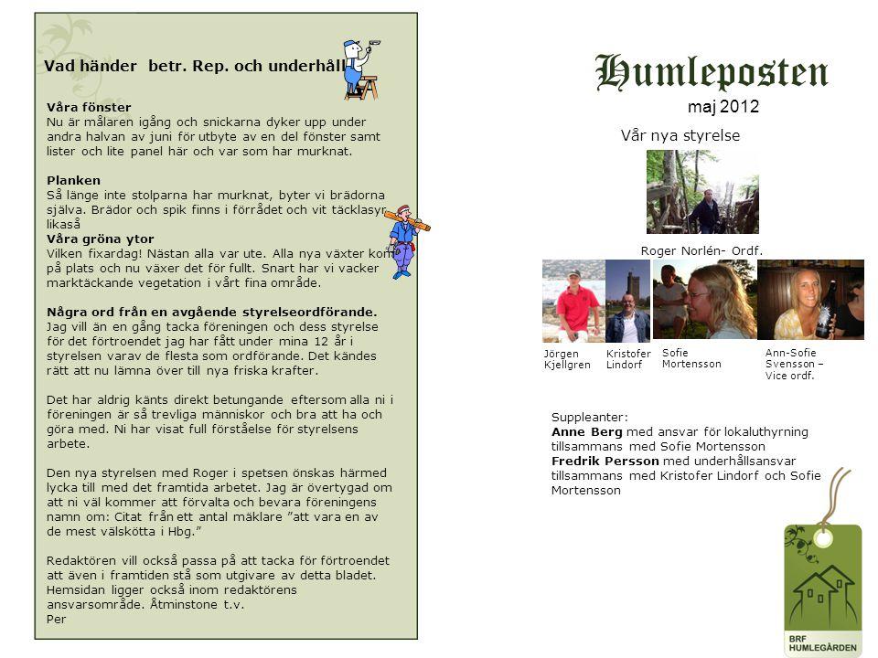 Humleposten maj 2012 Vad händer betr. Rep. och underhåll.