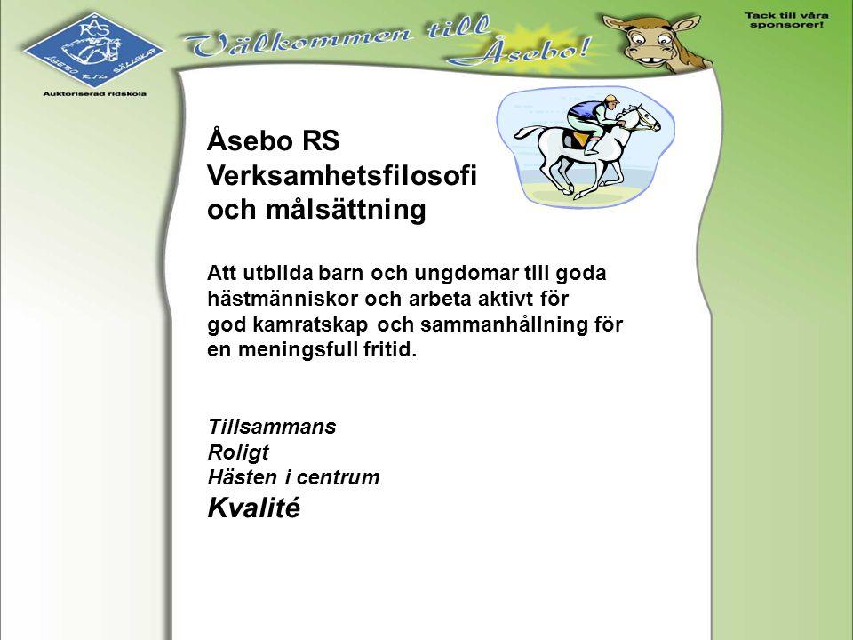 Åsebo RS Verksamhetsfilosofi och målsättning Att utbilda barn och ungdomar till goda hästmänniskor och arbeta aktivt för god kamratskap och sammanhåll