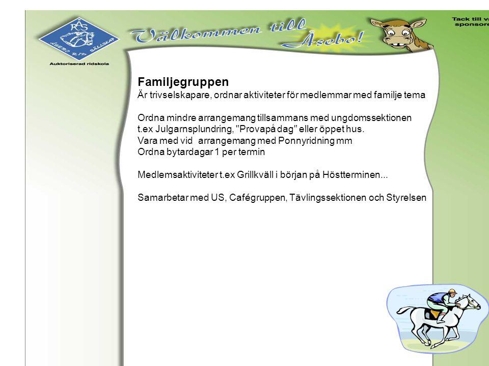 Familjegruppen Är trivselskapare, ordnar aktiviteter för medlemmar med familje tema Ordna mindre arrangemang tillsammans med ungdomssektionen t.ex Jul