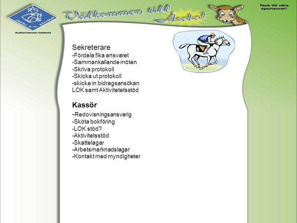 Övriga grupper i föreningen -Anläggningsgrupp -Familjegrupp -Tävlingskommité -Handikappgrupp -Sponsorgrupp -Framtidsgrupp