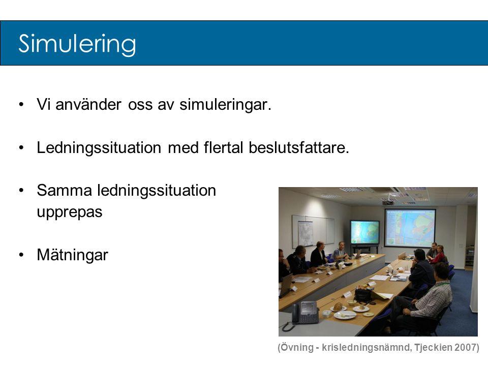 Simulering •Vi använder oss av simuleringar. •Ledningssituation med flertal beslutsfattare. •Samma ledningssituation upprepas •Mätningar (Övning - kri