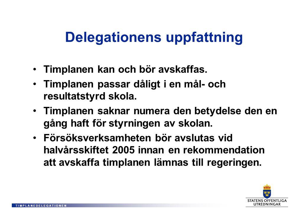 T I M P L A N E D E L E G A T I O N E N Delegationens uppfattning •Timplanen kan och bör avskaffas.