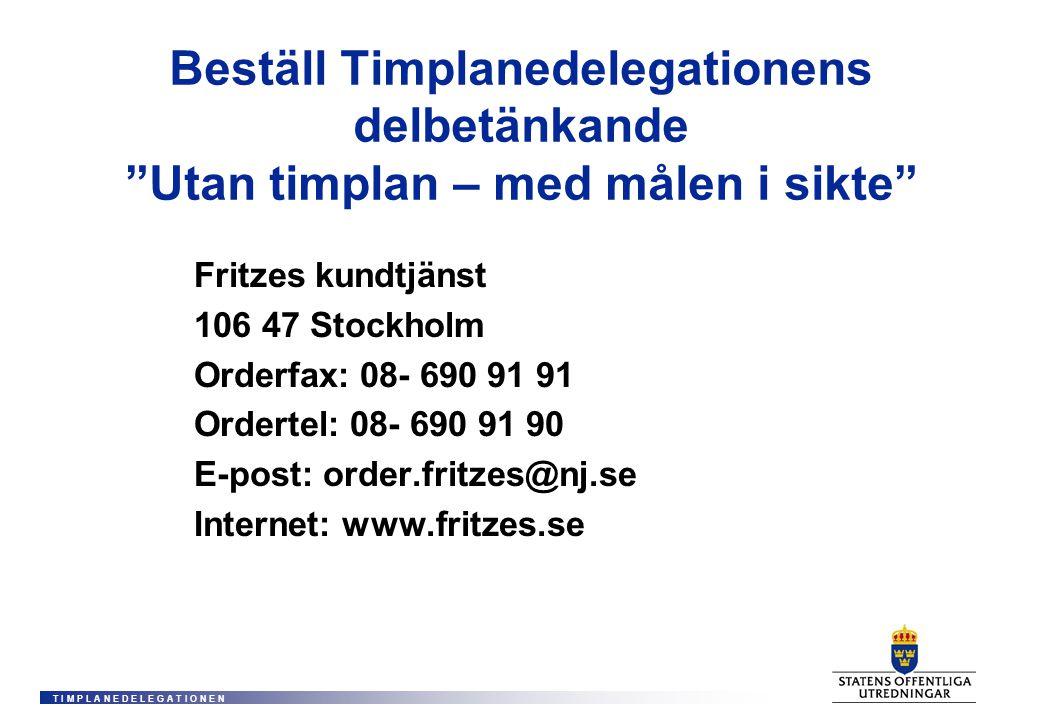 T I M P L A N E D E L E G A T I O N E N Beställ Timplanedelegationens delbetänkande Utan timplan – med målen i sikte Fritzes kundtjänst 106 47 Stockholm Orderfax: 08- 690 91 91 Ordertel: 08- 690 91 90 E-post: order.fritzes@nj.se Internet: www.fritzes.se