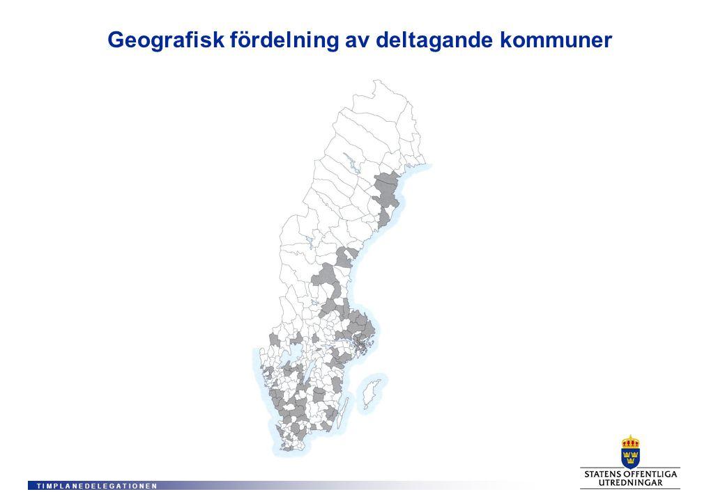 T I M P L A N E D E L E G A T I O N E N Geografisk fördelning av deltagande kommuner