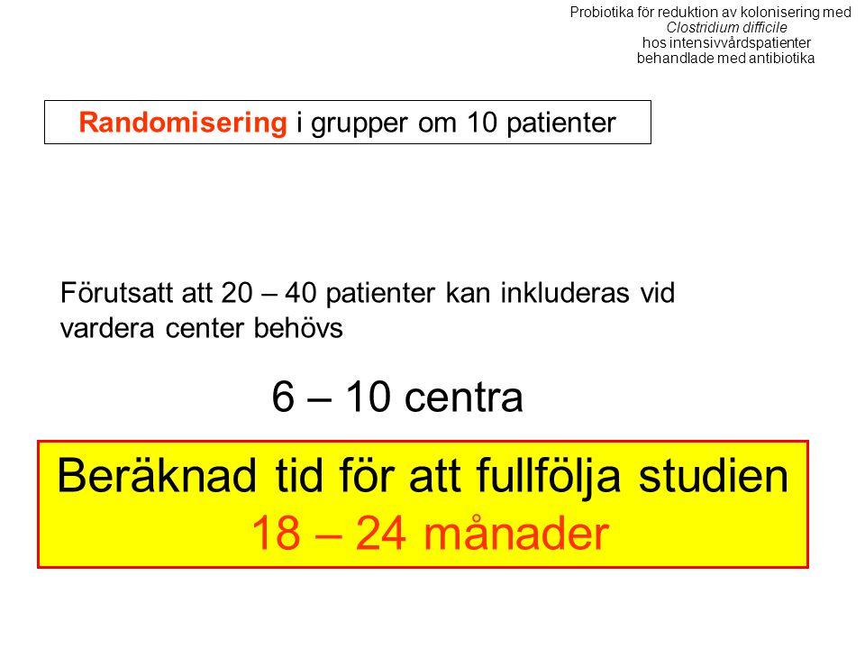 Randomisering i grupper om 10 patienter Förutsatt att 20 – 40 patienter kan inkluderas vid vardera center behövs 6 – 10 centra Beräknad tid för att fu