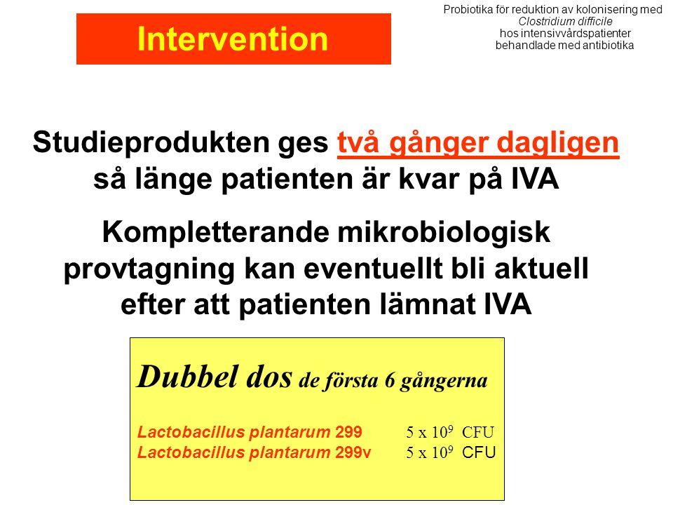 Studieprodukten ges två gånger dagligen så länge patienten är kvar på IVA Kompletterande mikrobiologisk provtagning kan eventuellt bli aktuell efter a