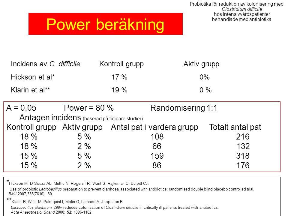 Α = 0,05Power = 80 %Randomisering 1:1 Antagen incidens (baserad på tidigare studier) Kontroll grupp Aktiv grupp Antal pat i vardera grupp Totalt antal