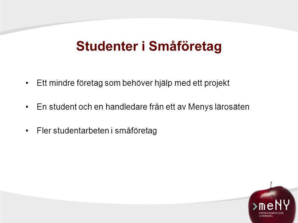 Studenter i Småföretag •Ett mindre företag som behöver hjälp med ett projekt •En student och en handledare från ett av Menys lärosäten •Fler studentar
