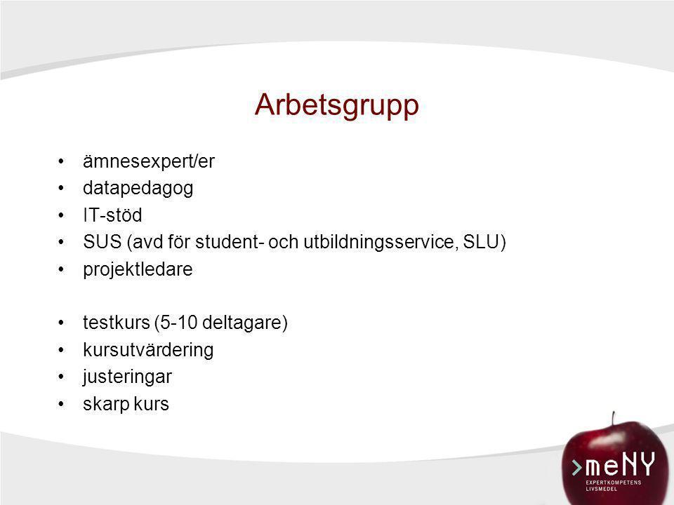 Arbetsgrupp •ämnesexpert/er •datapedagog •IT-stöd •SUS (avd för student- och utbildningsservice, SLU) •projektledare •testkurs (5-10 deltagare) •kursu