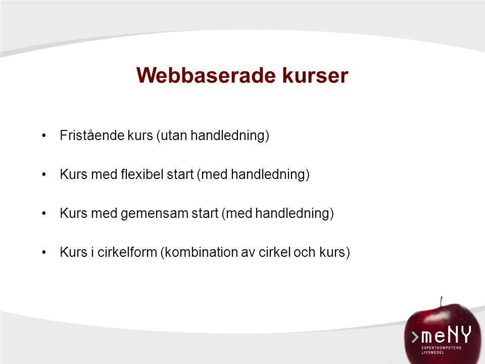 Webbaserade kurser •Fristående kurs (utan handledning) •Kurs med flexibel start (med handledning) •Kurs med gemensam start (med handledning) •Kurs i c