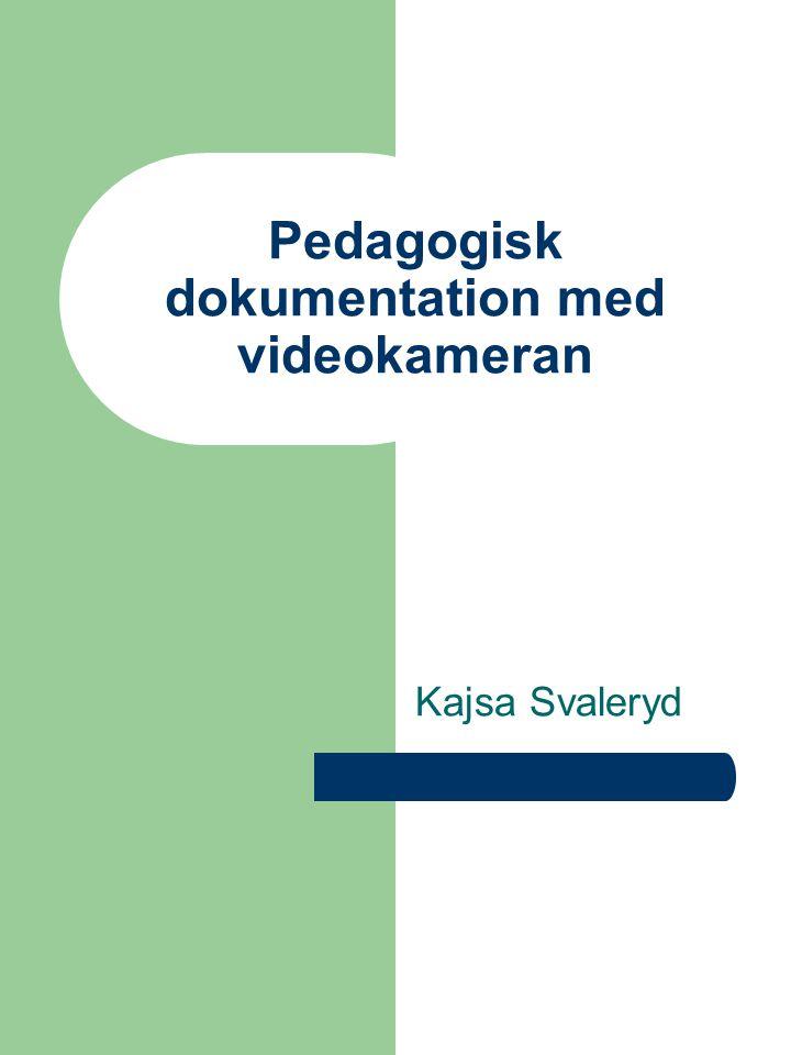 Pedagogisk dokumentation med videokameran Kajsa Svaleryd