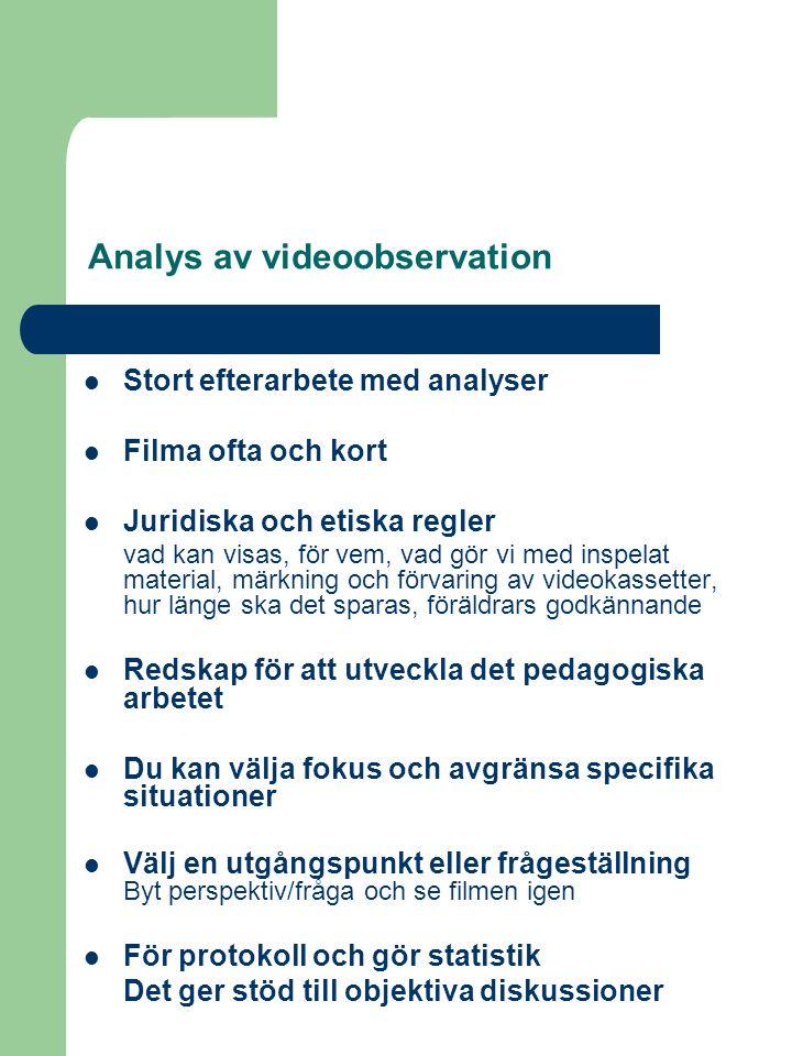 Analys av videoobservation  Stort efterarbete med analyser  Filma ofta och kort  Juridiska och etiska regler vad kan visas, för vem, vad gör vi med inspelat material, märkning och förvaring av videokassetter, hur länge ska det sparas, föräldrars godkännande  Redskap för att utveckla det pedagogiska arbetet  Du kan välja fokus och avgränsa specifika situationer  Välj en utgångspunkt eller frågeställning Byt perspektiv/fråga och se filmen igen  För protokoll och gör statistik Det ger stöd till objektiva diskussioner
