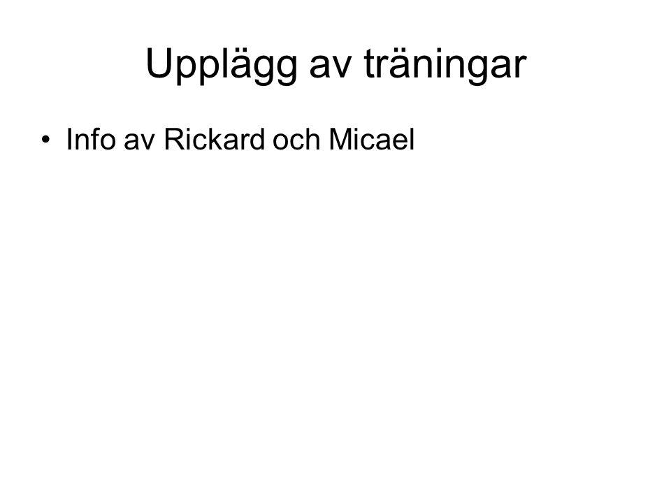 Upplägg av träningar •Info av Rickard och Micael