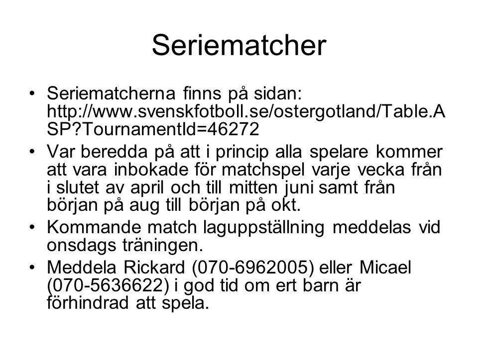 Seriematcher •Seriematcherna finns på sidan: http://www.svenskfotboll.se/ostergotland/Table.A SP?TournamentId=46272 •Var beredda på att i princip alla