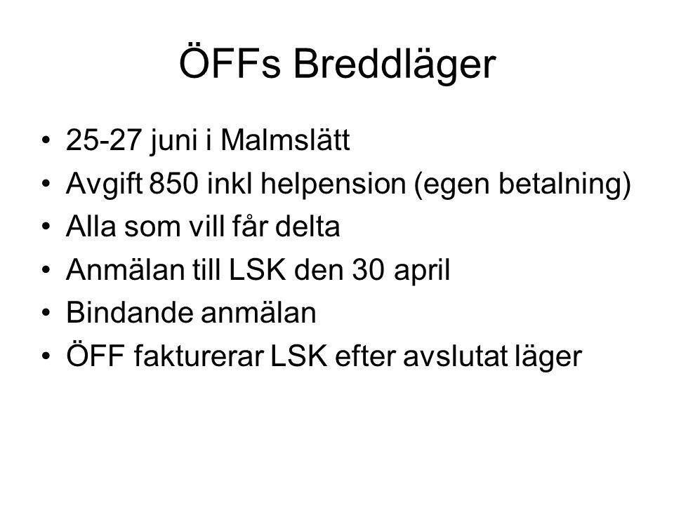 ÖFFs Breddläger •25-27 juni i Malmslätt •Avgift 850 inkl helpension (egen betalning) •Alla som vill får delta •Anmälan till LSK den 30 april •Bindande