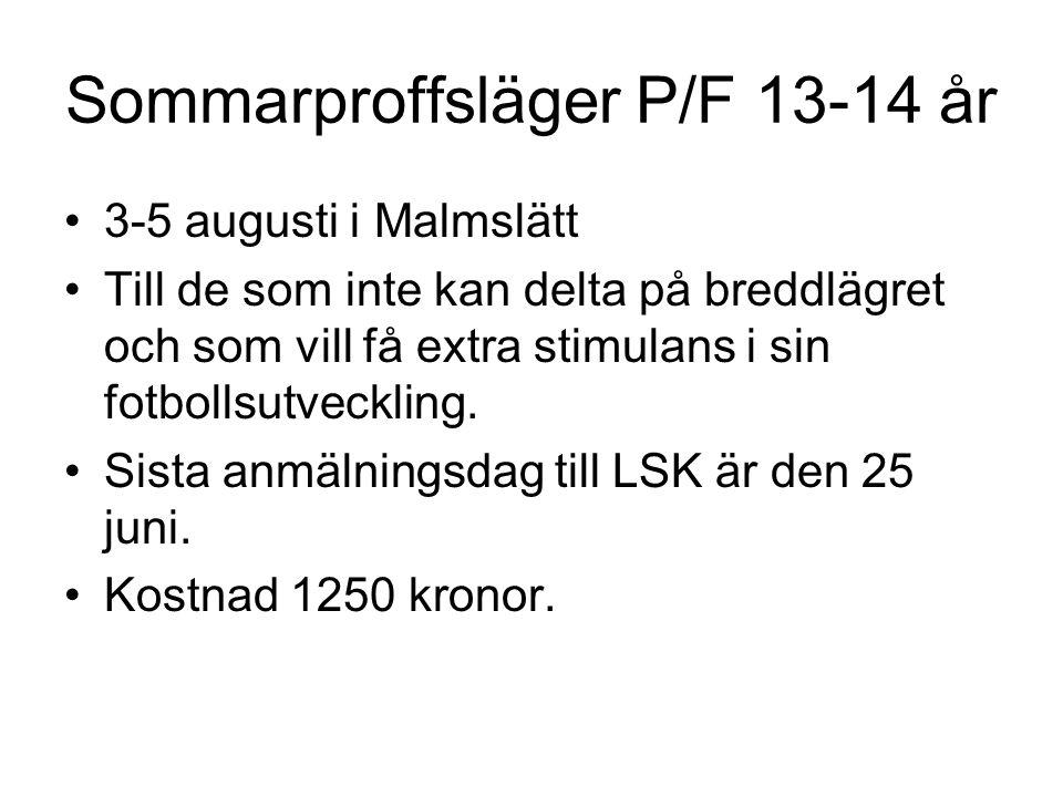 Sommarproffsläger P/F 13-14 år •3-5 augusti i Malmslätt •Till de som inte kan delta på breddlägret och som vill få extra stimulans i sin fotbollsutvec