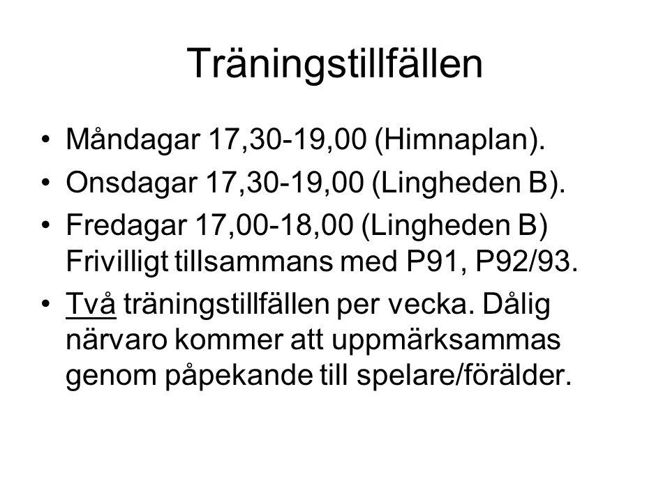 Träningstillfällen •Måndagar 17,30-19,00 (Himnaplan). •Onsdagar 17,30-19,00 (Lingheden B). •Fredagar 17,00-18,00 (Lingheden B) Frivilligt tillsammans