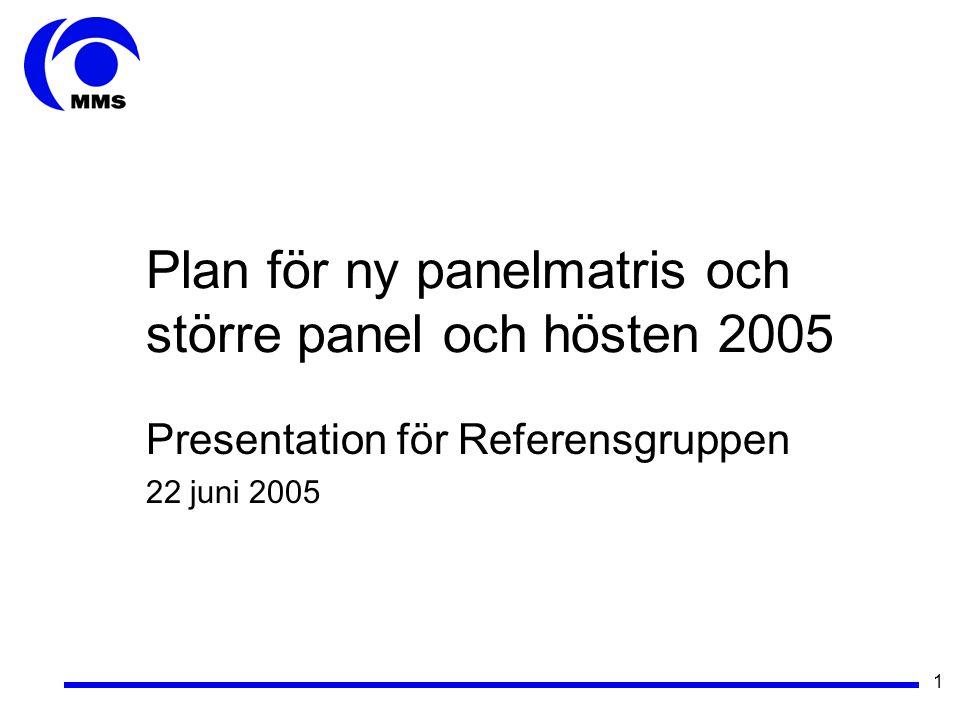 1 Plan för ny panelmatris och större panel och hösten 2005 Presentation för Referensgruppen 22 juni 2005