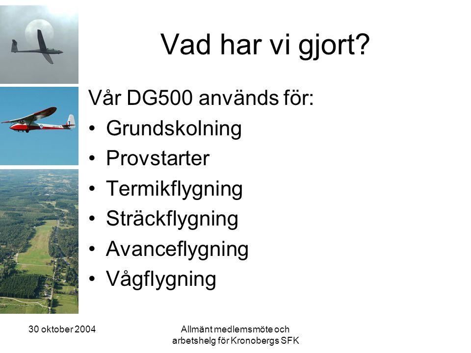 30 oktober 2004Allmänt medlemsmöte och arbetshelg för Kronobergs SFK Vad har vi gjort? Vår DG500 används för: •Grundskolning •Provstarter •Termikflygn