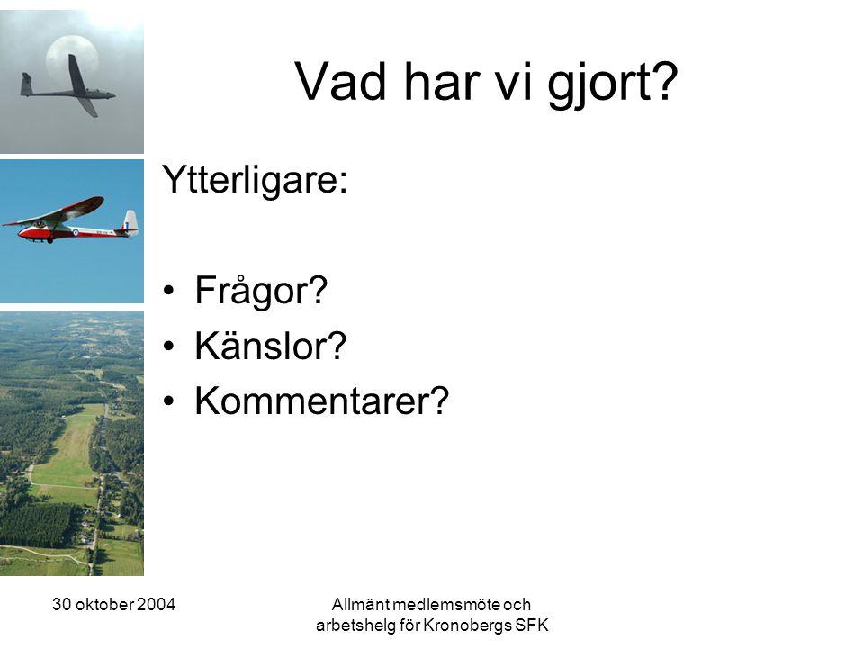 30 oktober 2004Allmänt medlemsmöte och arbetshelg för Kronobergs SFK Vad har vi gjort? Ytterligare: •Frågor? •Känslor? •Kommentarer?