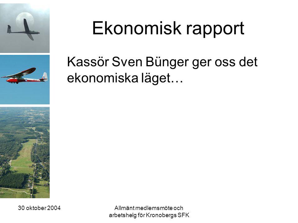 30 oktober 2004Allmänt medlemsmöte och arbetshelg för Kronobergs SFK Ekonomisk rapport Kassör Sven Bünger ger oss det ekonomiska läget…