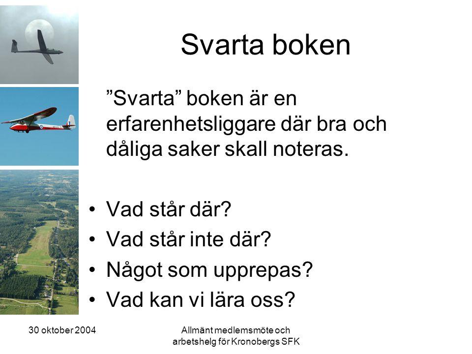 30 oktober 2004Allmänt medlemsmöte och arbetshelg för Kronobergs SFK Svarta boken Svarta boken är en erfarenhetsliggare där bra och dåliga saker skall noteras.
