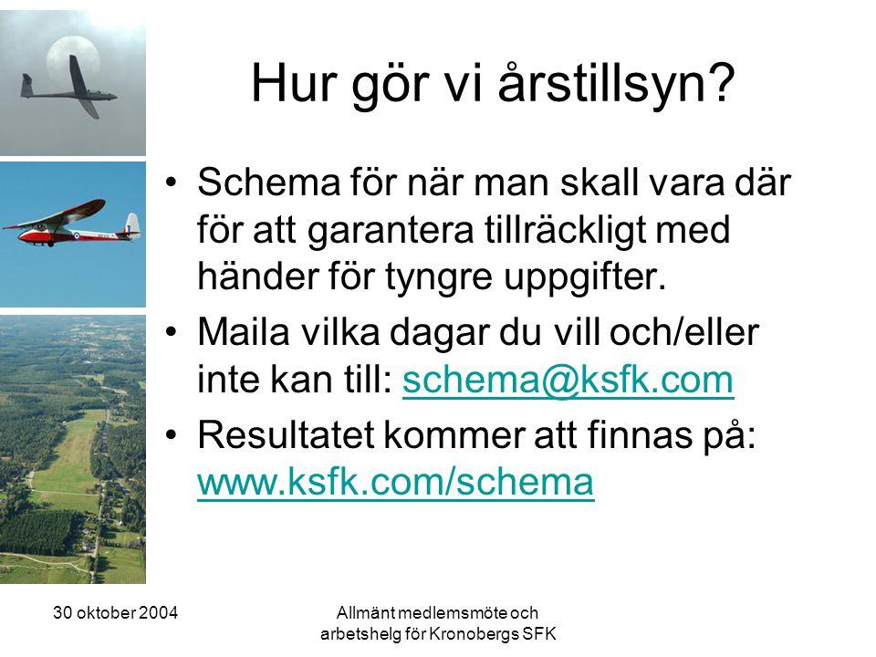 30 oktober 2004Allmänt medlemsmöte och arbetshelg för Kronobergs SFK Hur gör vi årstillsyn? •Schema för när man skall vara där för att garantera tillr