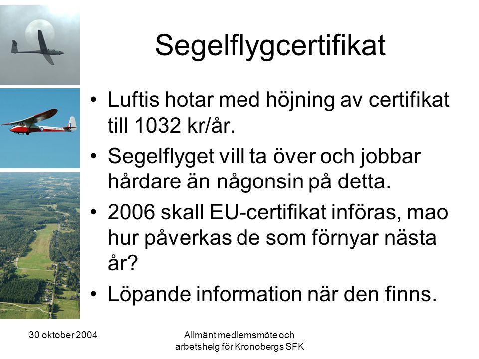 30 oktober 2004Allmänt medlemsmöte och arbetshelg för Kronobergs SFK Segelflygcertifikat •Luftis hotar med höjning av certifikat till 1032 kr/år. •Seg