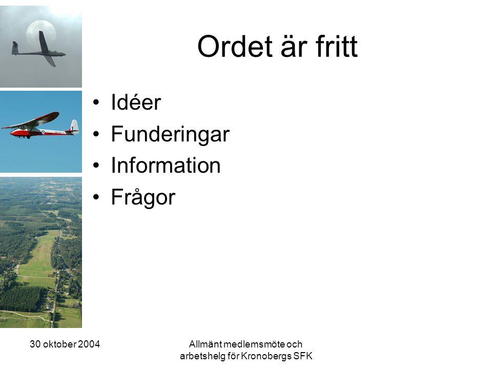 30 oktober 2004Allmänt medlemsmöte och arbetshelg för Kronobergs SFK Ordet är fritt •Idéer •Funderingar •Information •Frågor