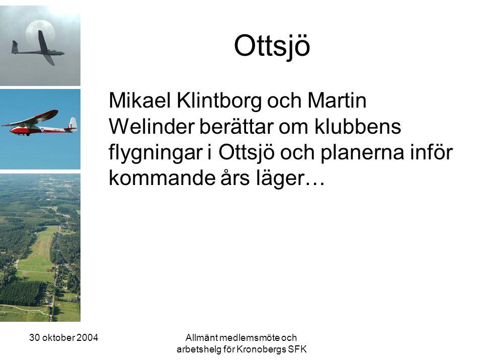 30 oktober 2004Allmänt medlemsmöte och arbetshelg för Kronobergs SFK Ottsjö Mikael Klintborg och Martin Welinder berättar om klubbens flygningar i Ottsjö och planerna inför kommande års läger…