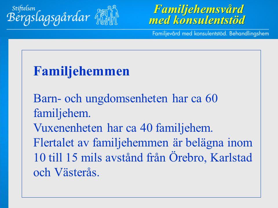 Familjehemmen Barn- och ungdomsenheten har ca 60 familjehem. Vuxenenheten har ca 40 familjehem. Flertalet av familjehemmen är belägna inom 10 till 15