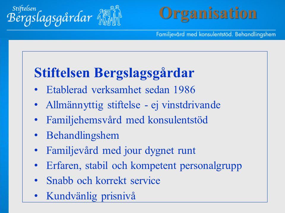 Stiftelsen Bergslagsgårdar • Etablerad verksamhet sedan 1986 • Allmännyttig stiftelse - ej vinstdrivande • Familjehemsvård med konsulentstöd • Behandl